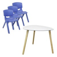 Bundle Table + 3 chairs - Blue