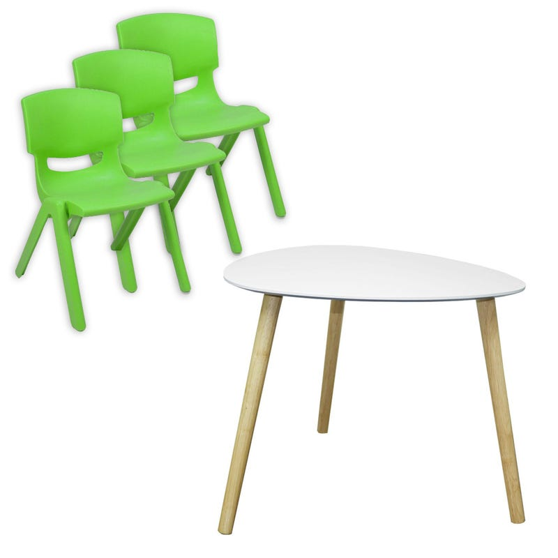 Ensemble Table + 3 chaises - Vert