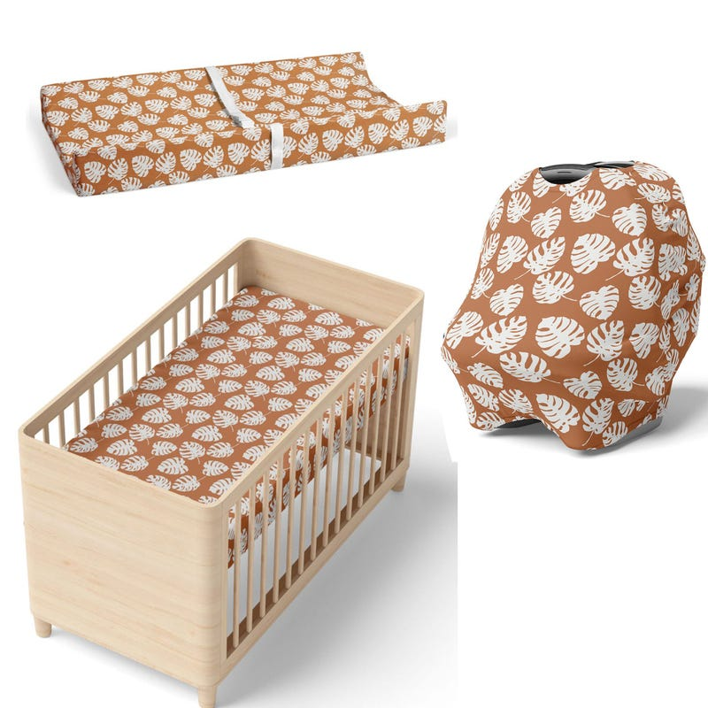 Crib fitted sheet + Changing pas cover + Car seat cover - Tropical
