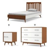 Lit Simple + Table de nuit + Bureau 3 Tiroirs - Lolipop Moisson et Blanc
