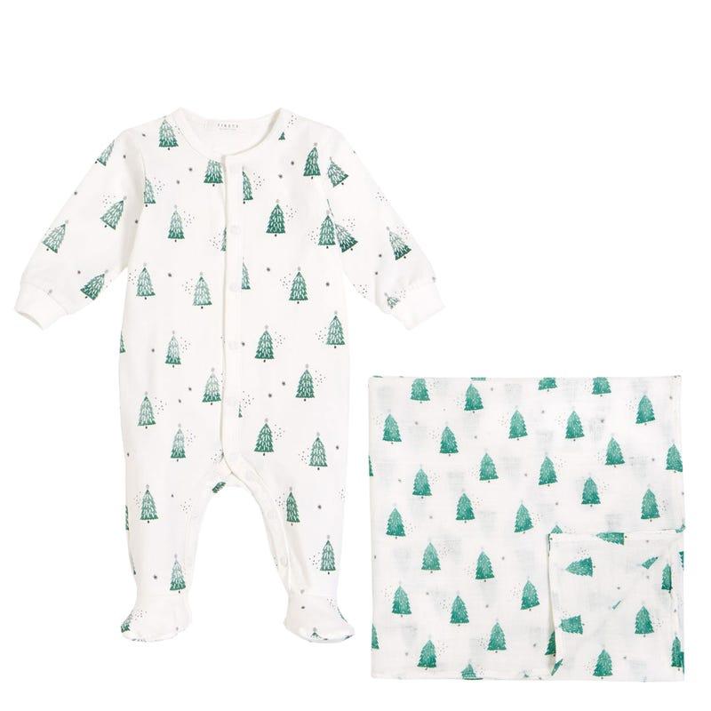Ensemble Pyjama + Couverture mousseline - Sapins