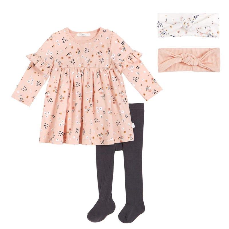 Ensemble robe fleurs + bandeaux (2) 6-24 mois - Rose