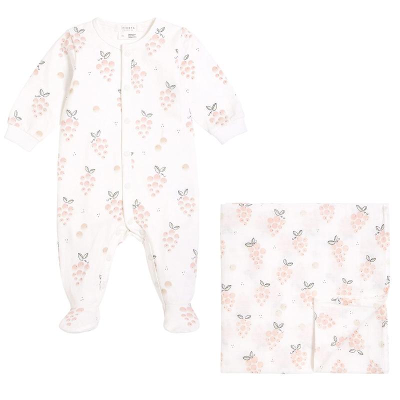 Pyjama + Couverture mousseline 0-12 - Rosé