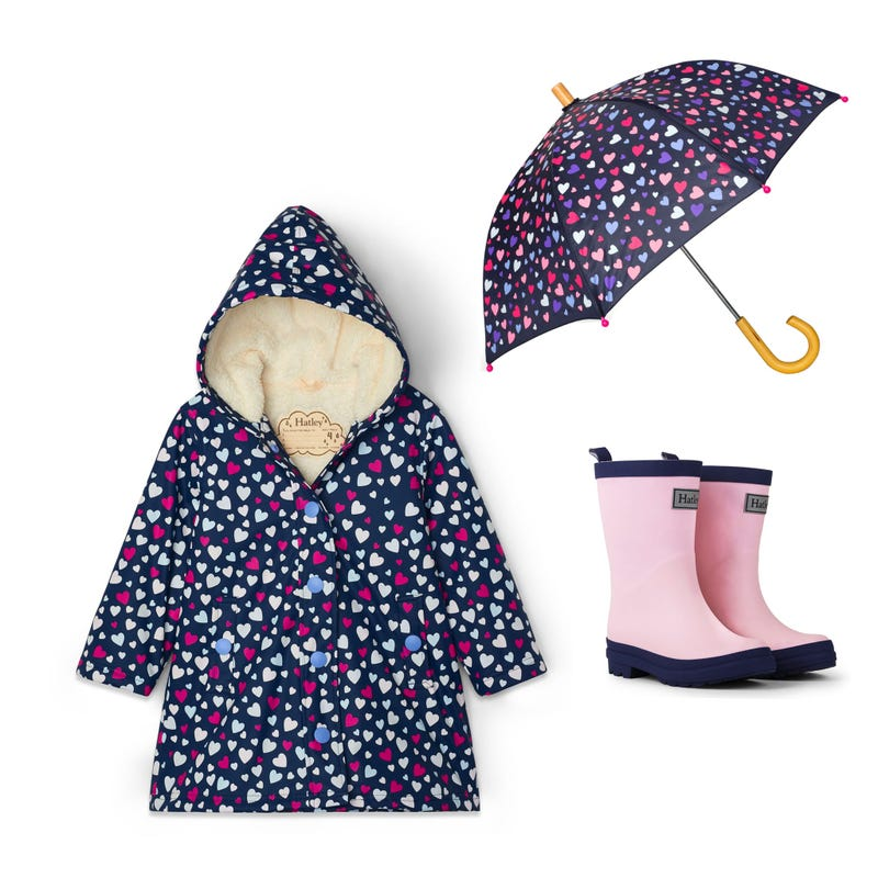 Bundle Sherpa Hearts Raincoat 3-8y - Navy
