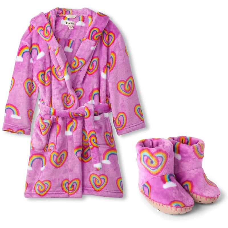 Robe de chambre 2-12ans + Pantoufles 5-2 - Coeurs