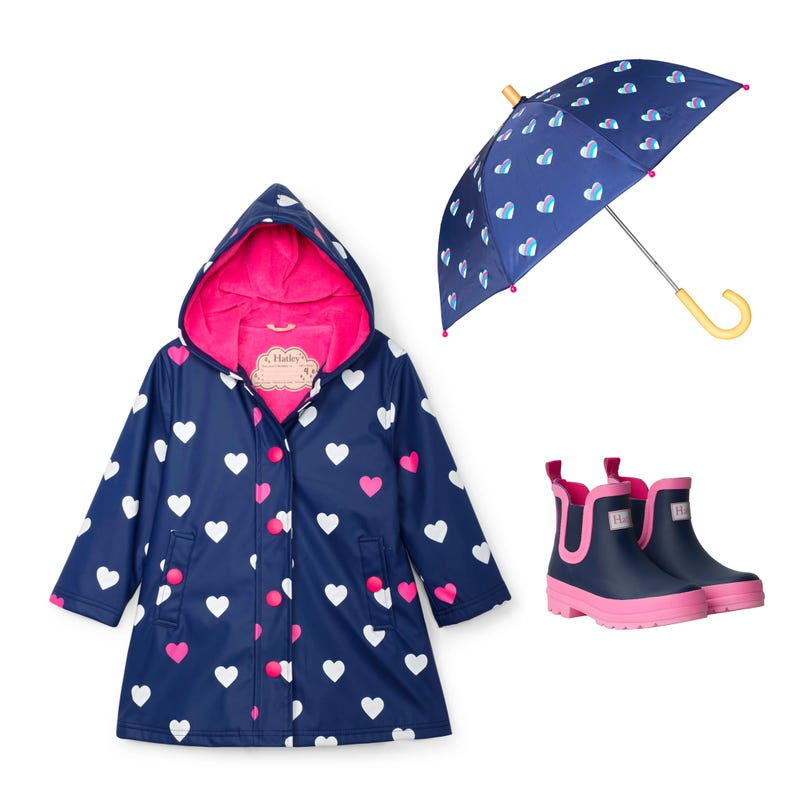 Bundle Hearts Raincoat 3-8y - Navy