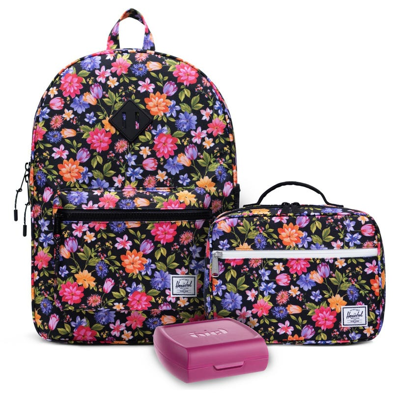 Heritage Backpack 22L, Flower Lunch Box and Sandwich Box Set