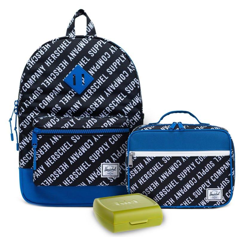 Ensemble Sac à dos Héritage 16L, boîte à lunch bleu et boîte à sandwich