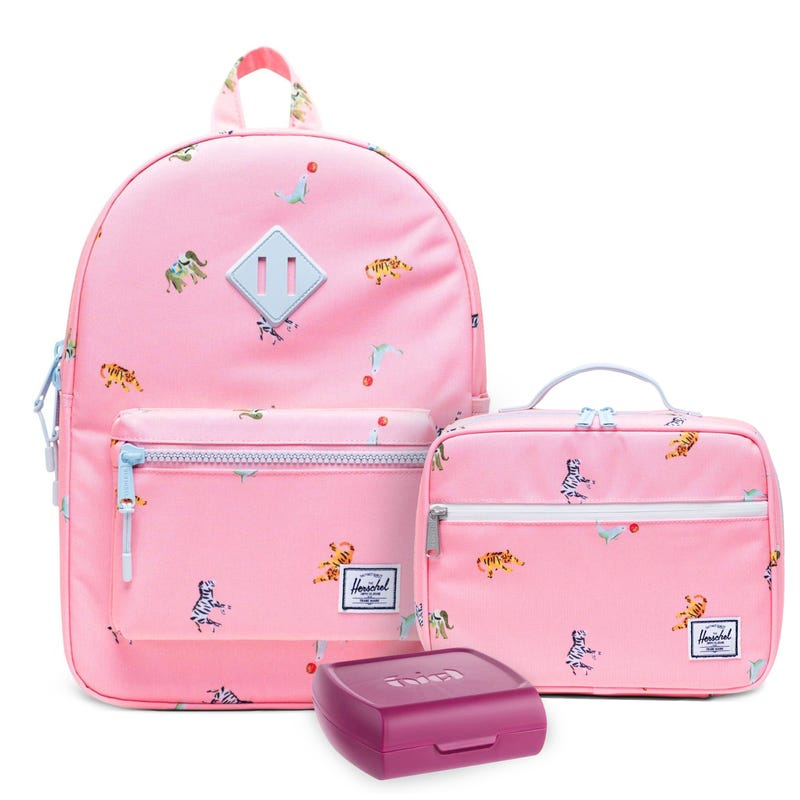 Heritage Backpack16L, pink Lunch Box and Sandwich Box Set