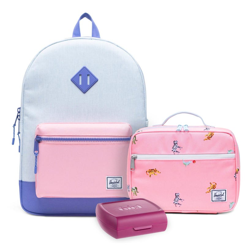 Heritage Backpack 22L, pink Lunch Box and Sandwich Box Set