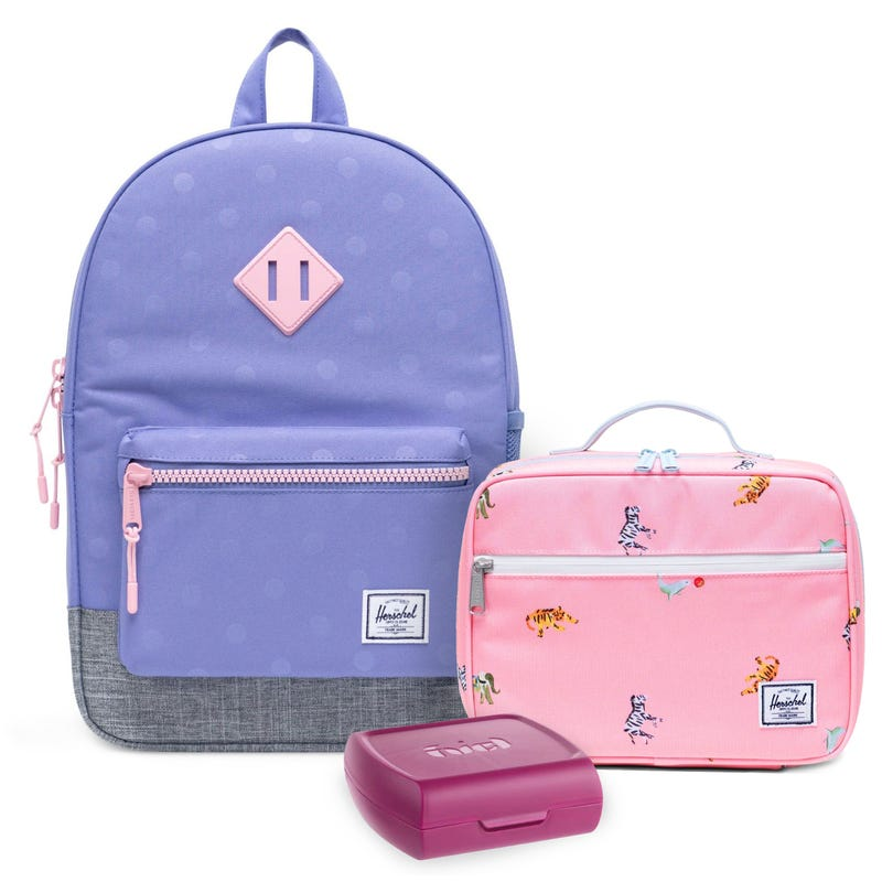 Heritage Backpack 16L, pink Lunch box and Sandwich Box Set