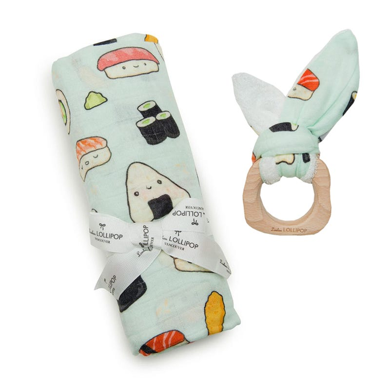 Bundle Bamboo Swaddle Blanket and Teething Ring - Sushi