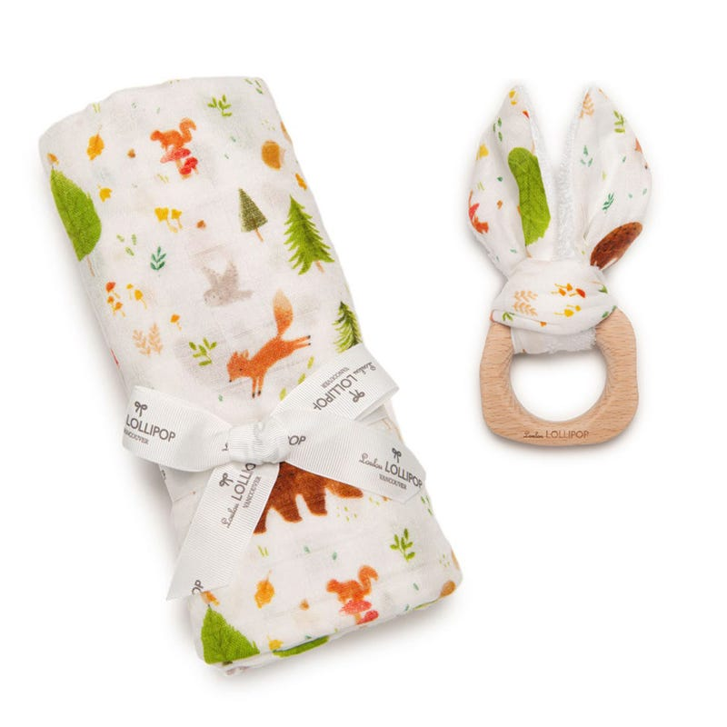 Bundle Swaddle Blanket and Teething Ring - Forest Friends