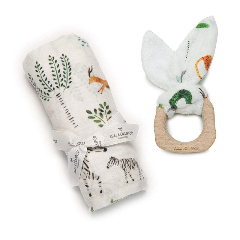Bundle Swaddle Blanket and Teething Ring - Safari