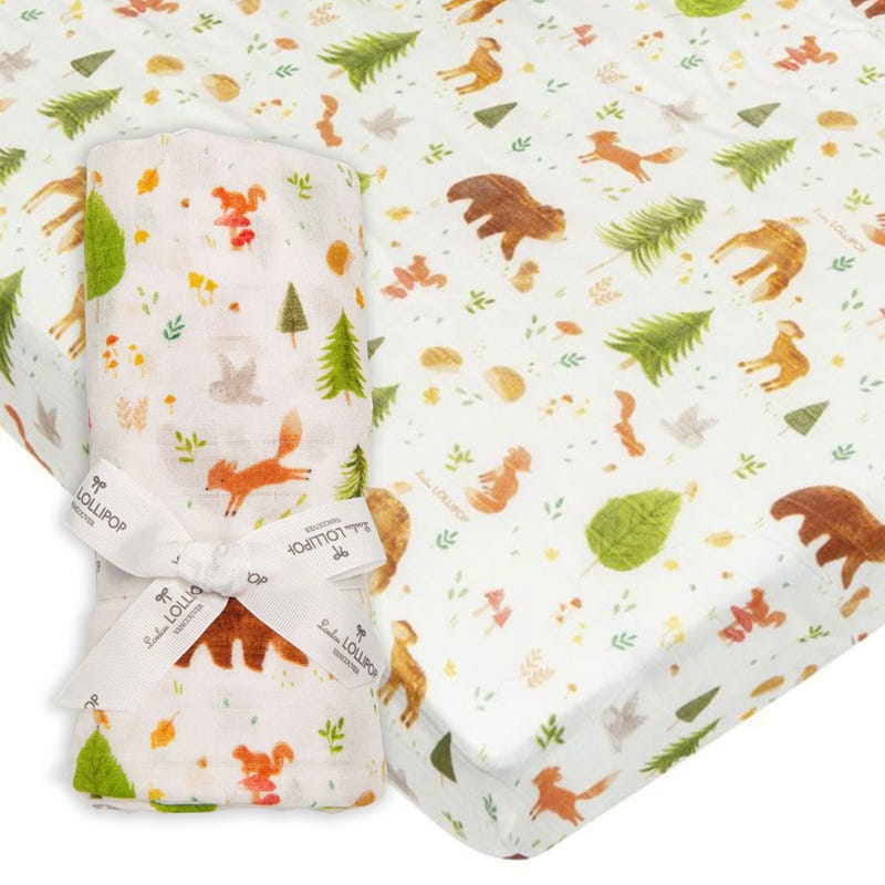 Bundle Fitted Crib Set and Swaddle Blanket - Forest Friend