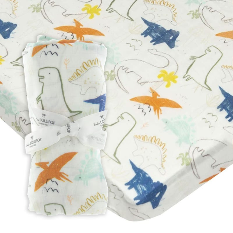 Bundle Fitted Crib Set and Swaddle Blanket  - Dino