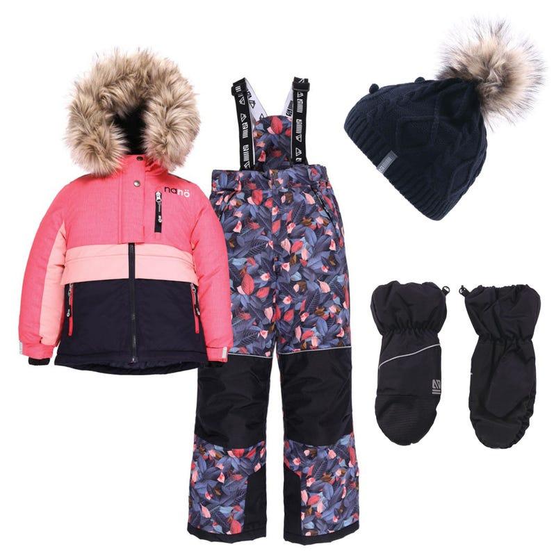 Habit de neige Mont Sutton + Tuque + Mitaines 7-14ans - Corail