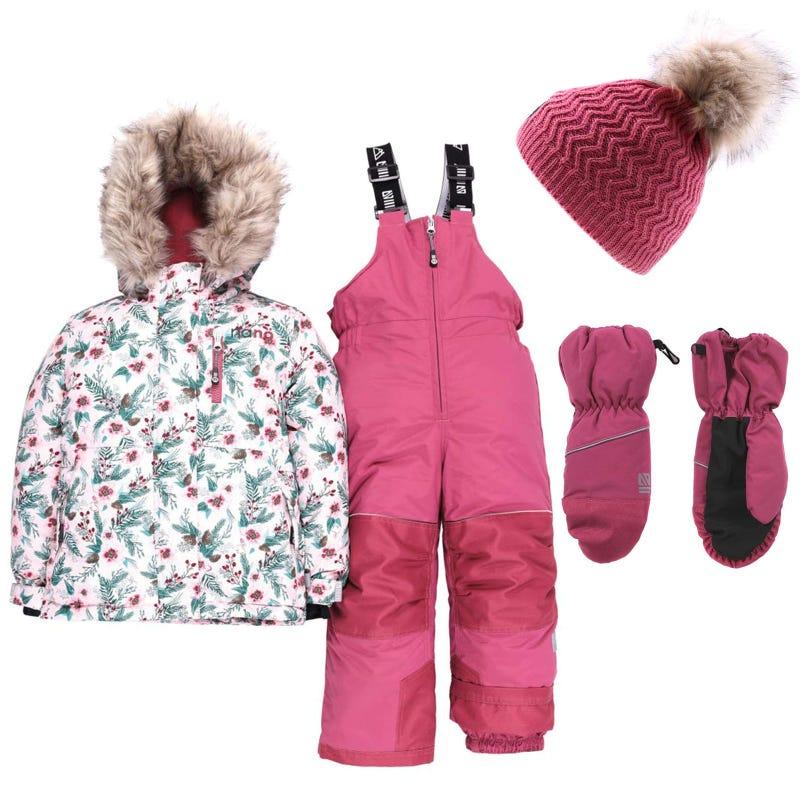 Habit de neige Mont Orford + Tuque + Mitaine 2-6ans - Rose