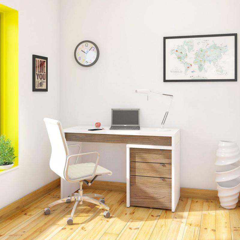 Ensemble Surface de travail + Filière - Blanc et Noyer