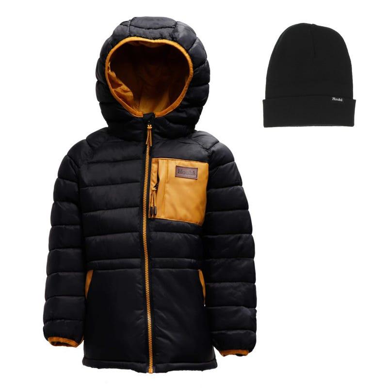 Hooke Puffer Jacket + Beanie 2-14y - Black