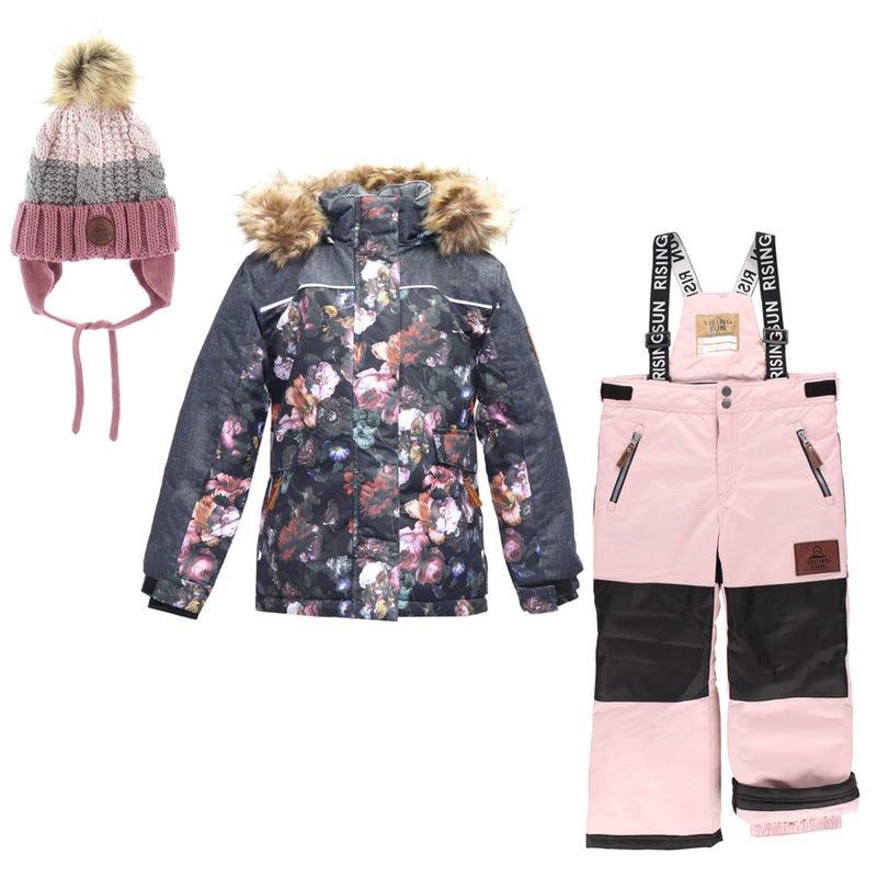 Vintage Flowers Snowsuit + Hat 4-14y - Black