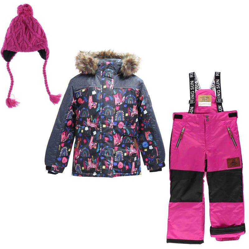 Scandinavian Snowsuit 4-14y +Hat 4-14Y - Dark Pink