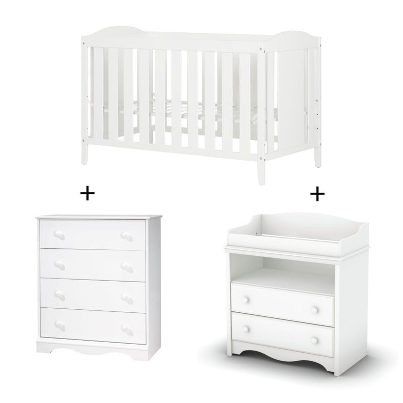 Angel - Crib + Changing Table + 4 Drawer - Pure White