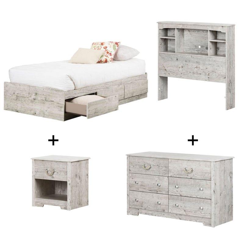 Navali - Twin bed + Headboard + Nightstand  + 6 Drawer - Seaside Pine