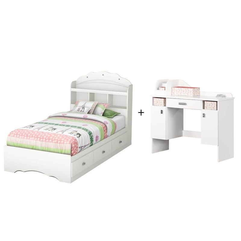 Tiara - Mates Bed with Bookcase Headboard Set + Makeup Desk -White