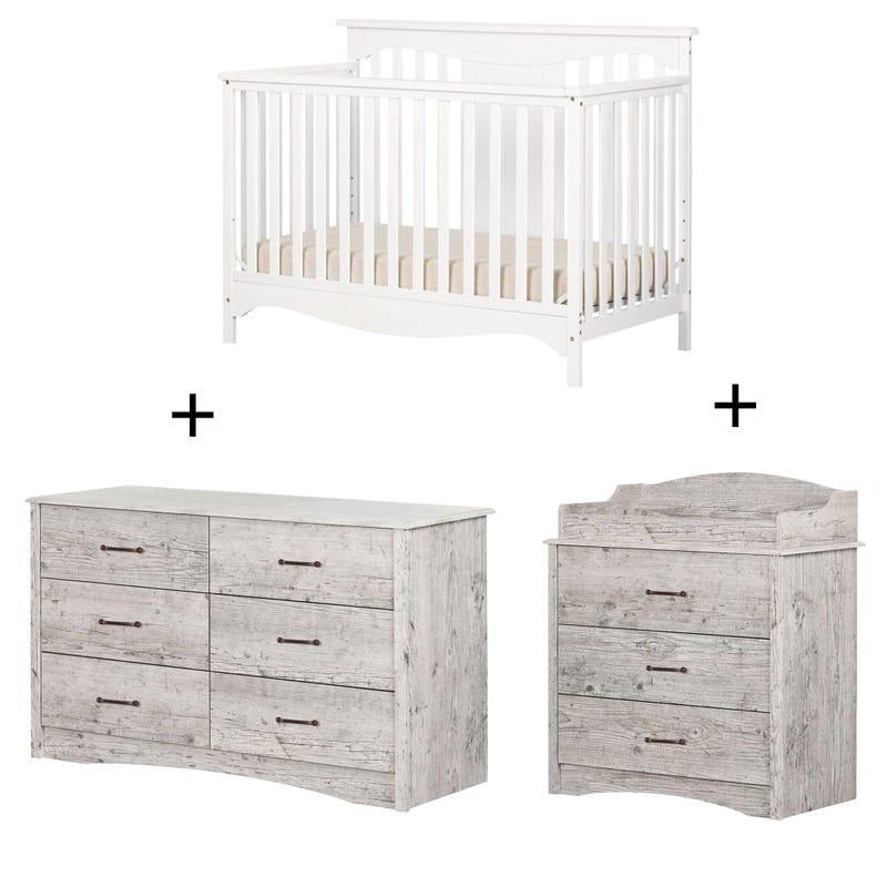 Helson-  Changing table + Drawer + Crib - Bord de Mer