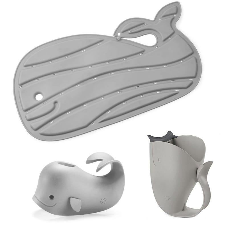 Moby Bath Mat +Spout Cover + Bath Rinser - Grey Whale