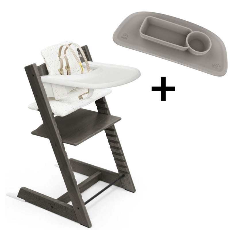 Bundle High Chair  Tripp Trapp + Placemat V2 - Hazy