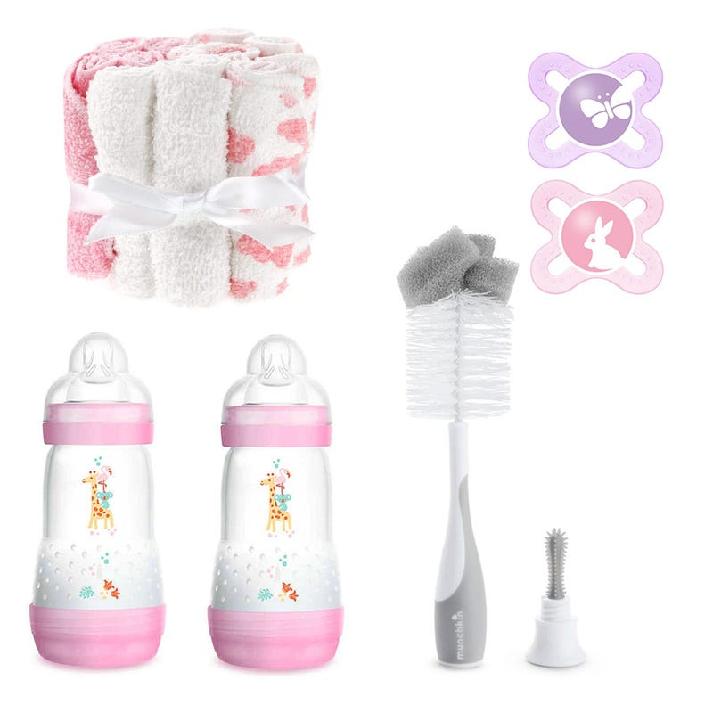 Baby Bottle (2) +Bottle Brush+Pacifiers(2) + Washcloth - Pink
