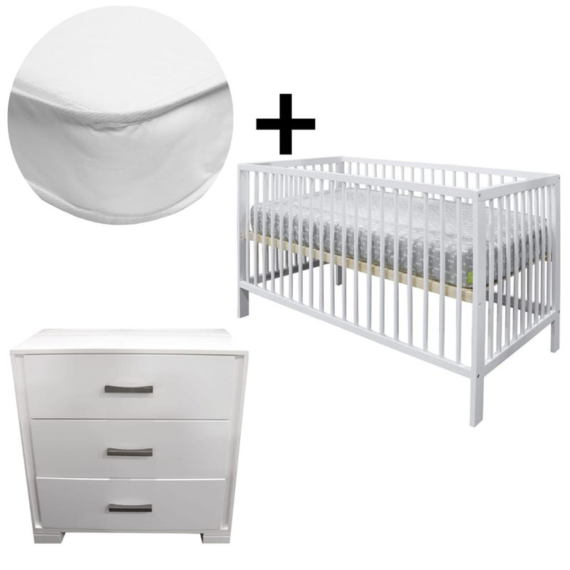 Bundle Crib + Mattress + Dresser - White