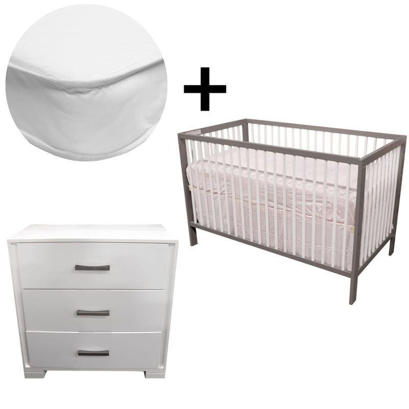 Bundle Crib + Mattress + Dresser - White and Grey