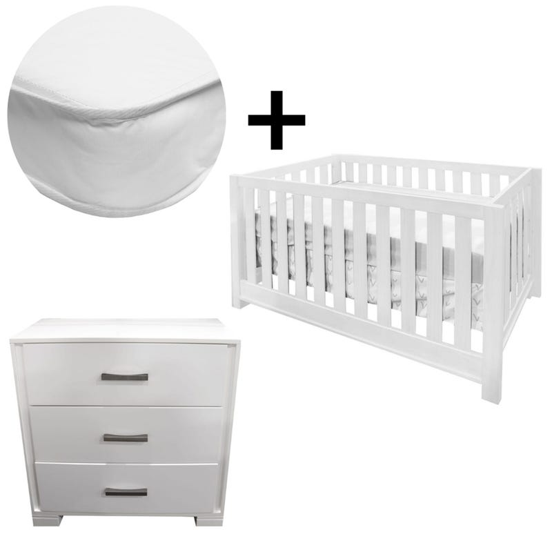 Bundle Crib+Mattress+Dresser - White