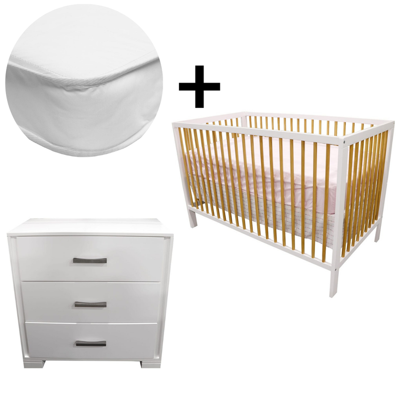 Bundle Crib + Mattress + 3 Drawers Dresser - White and Natural