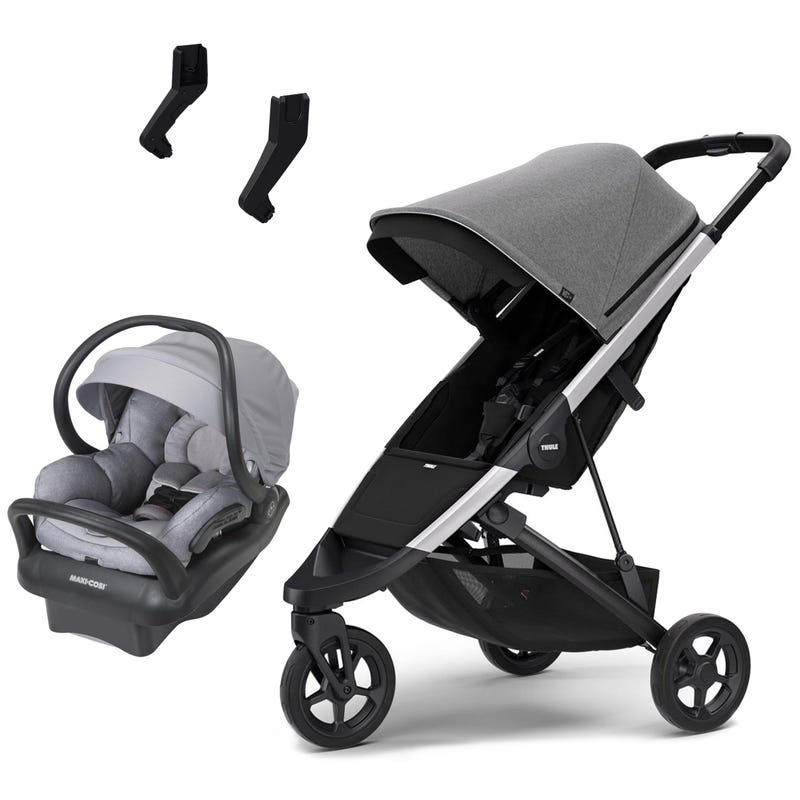 Thule Spring Stroller and Grey Mico Max Car Seat Set