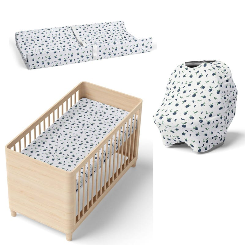 Crib fitted sheet + Changing pad cover + Car seat cover - Blueberry