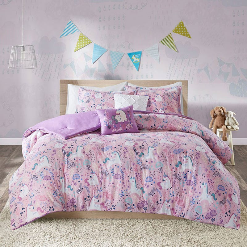 Double / Queen Comforter Set - Lola Unicorn Pink