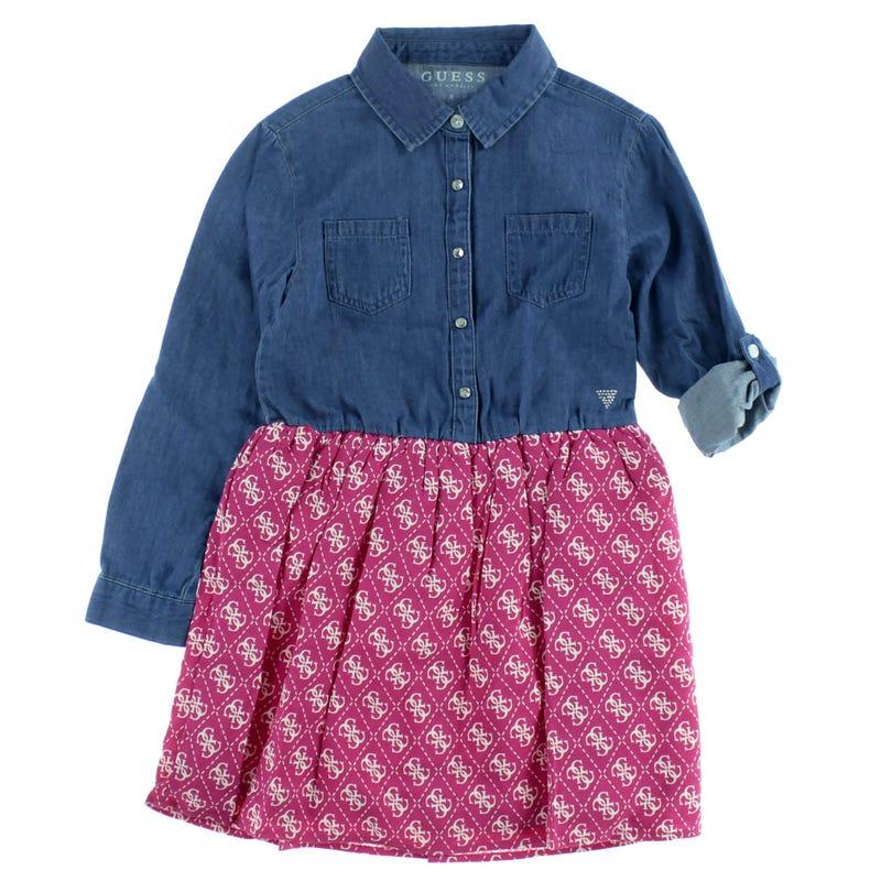 Mixed Fabric Dress 2-6x