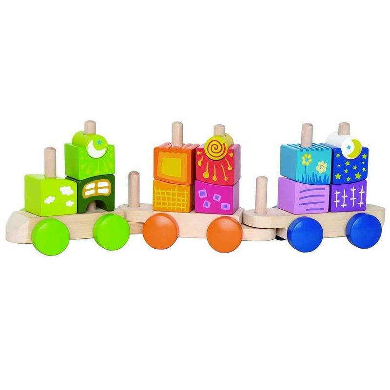 Train Bloc à Empiler - Multicolore & Bois