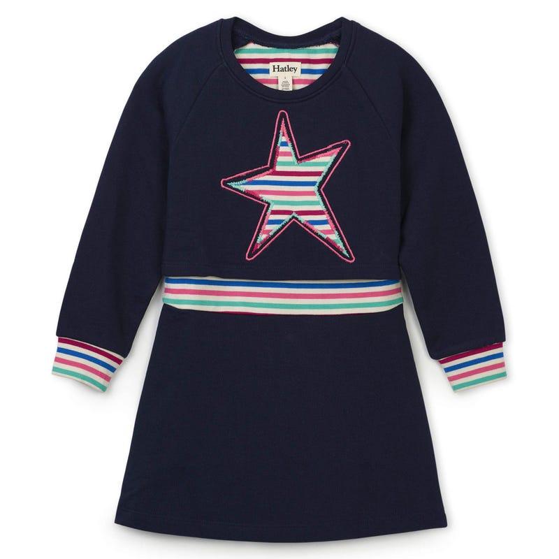Forest L/S Star Dress 2-10