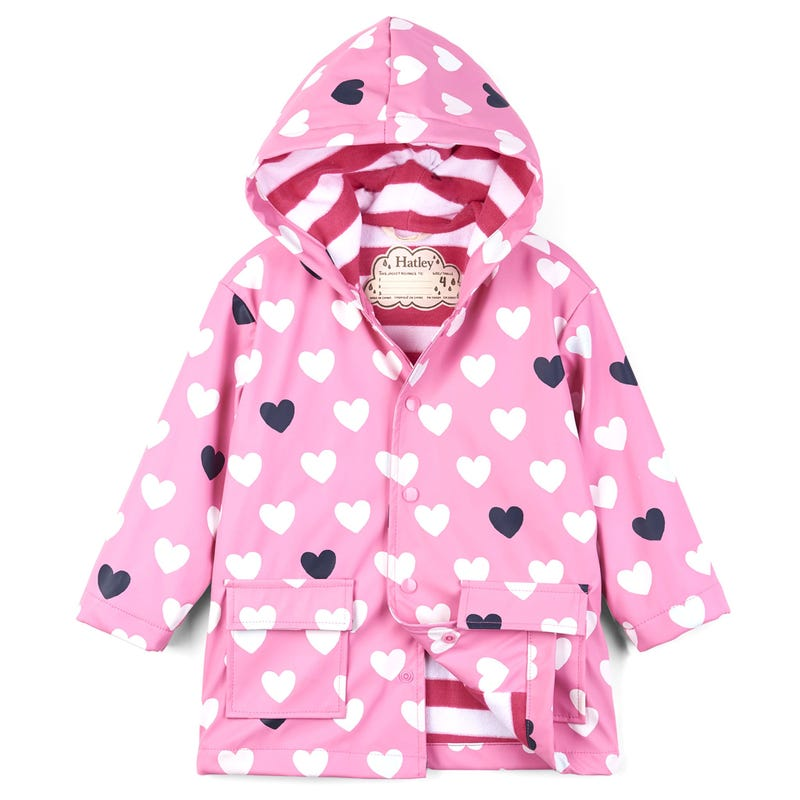 Colour Changing Raincoat 2-8y - Lovely Hearts