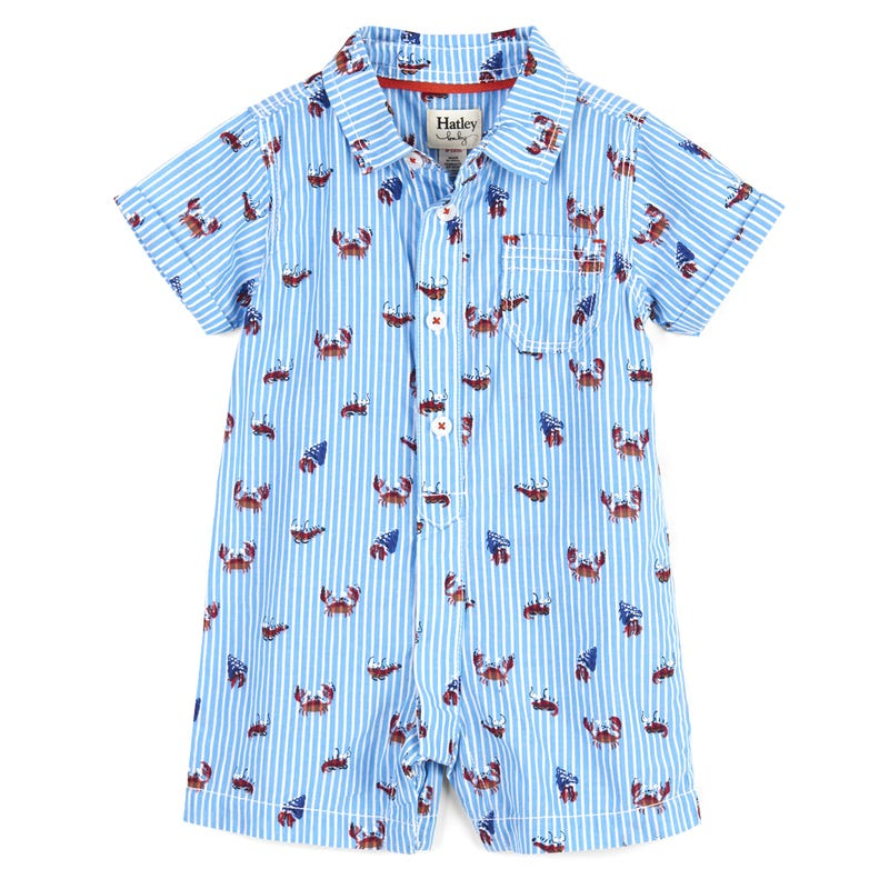 Silly Crustaceans Woven Romper 3-24m