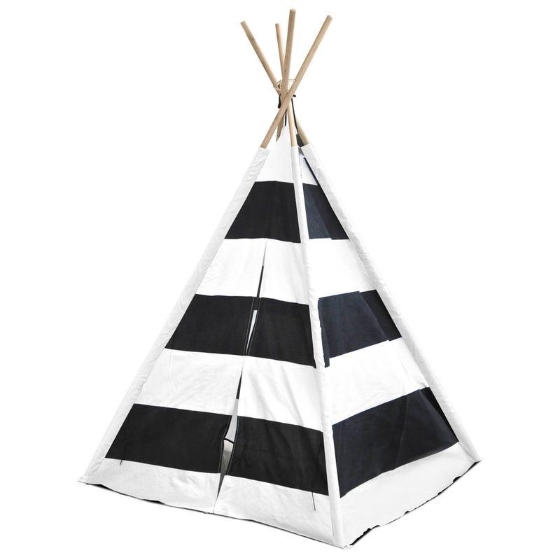 Tente Tipi Rayé - Noir Blanc