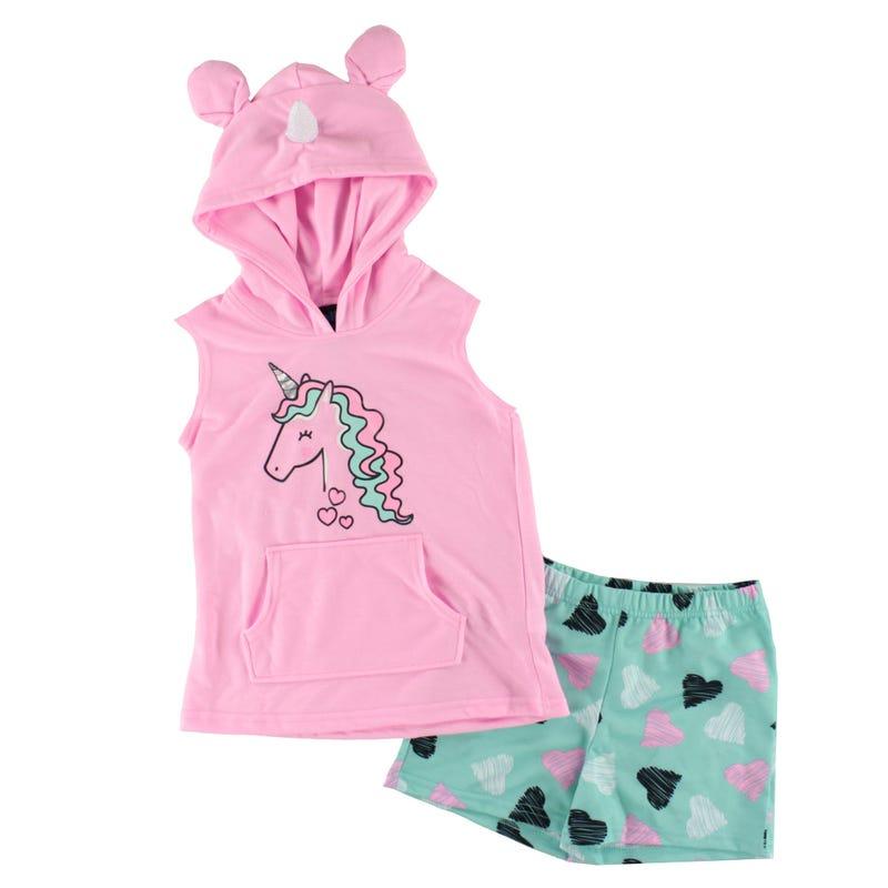 Pyjama Court Capuchon Licorne 4-16ans