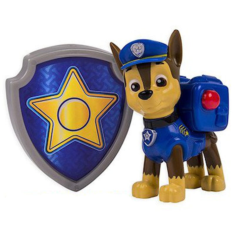 Paw Patrol Figurine and Badge Set - Chase