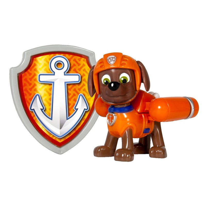 Paw Patrol Figurine and Badge Set - Zuma