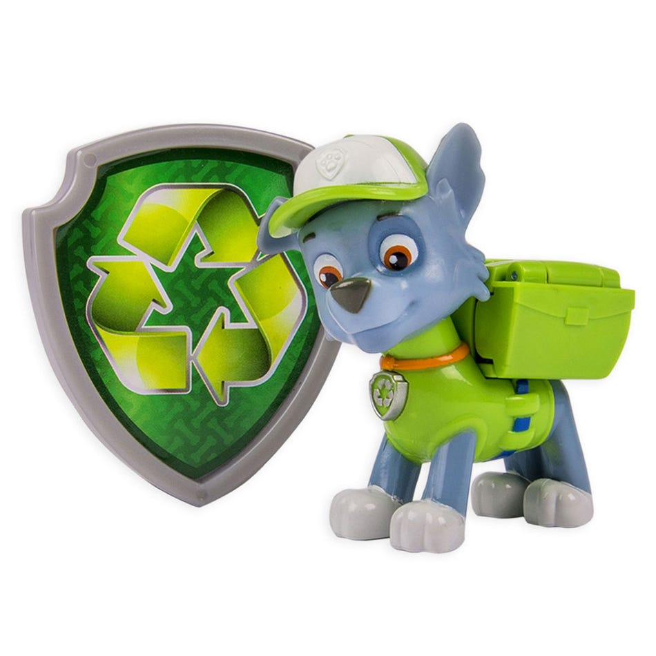 Pat Patrouille Paw Patrol Figurine And Badge Set Rocky Clement